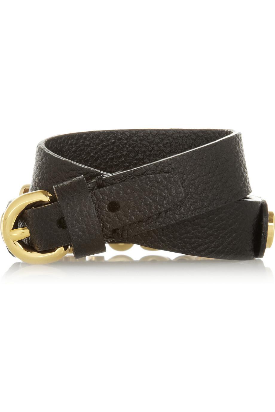 Lyst Moschino Texturedleather Wrap Bracelet In Black