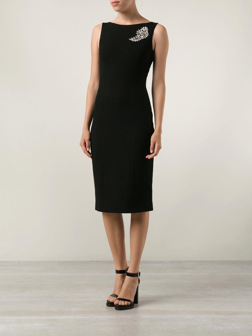 Michael Kors Paisley Brooch Sheath Dress In Black Lyst