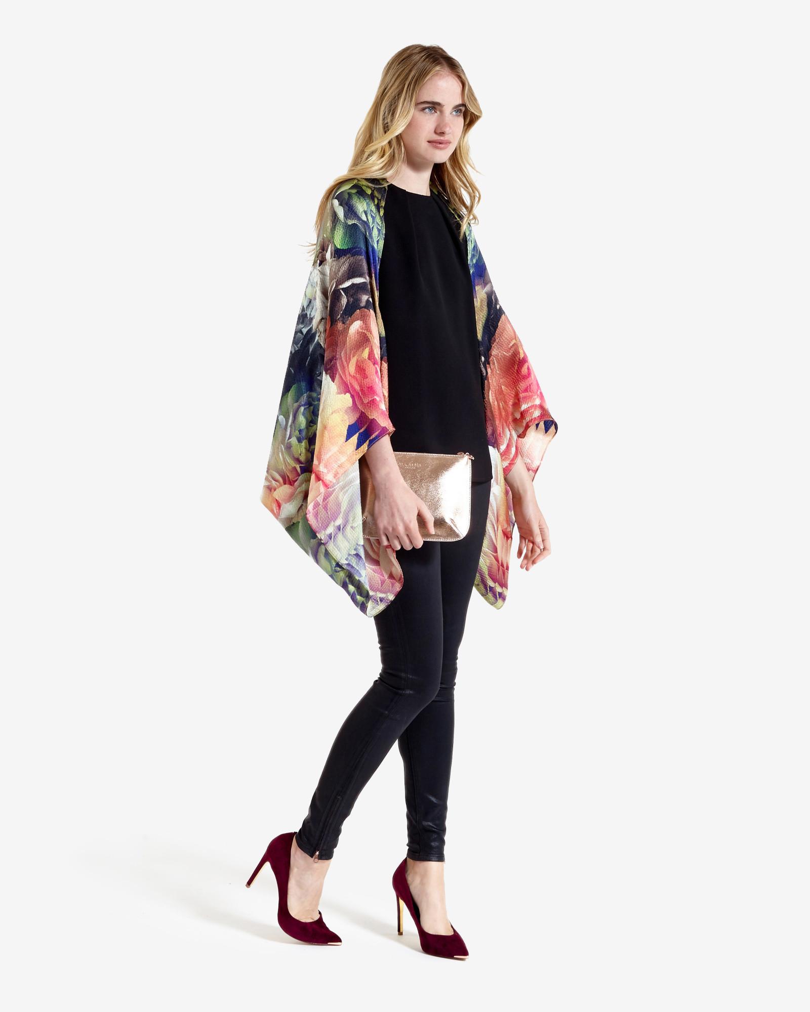 BEAUTIFUL!!! Ted Baker Technicolour Bloom long silk Scarf