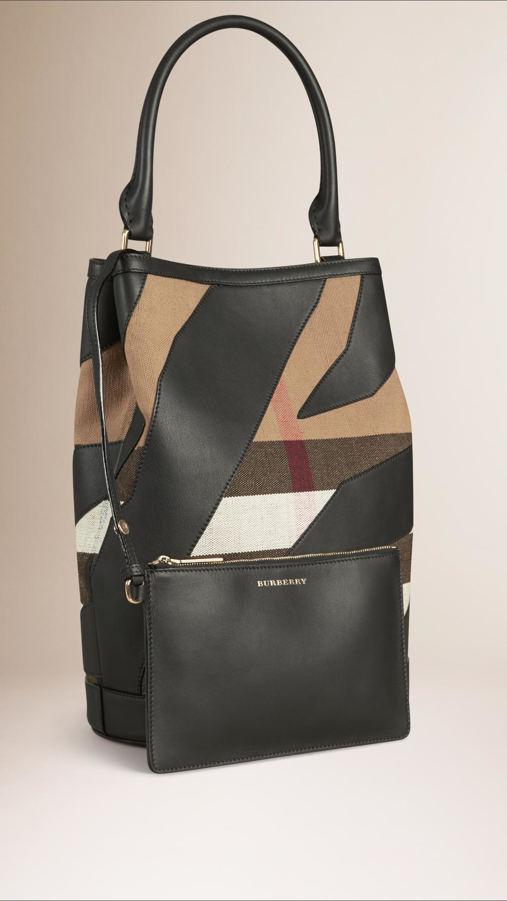 burberry the bucket canvas check and leather bag in black