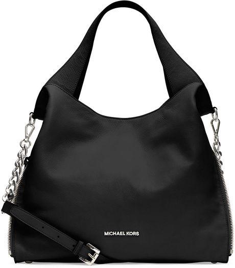 34536c1c8c97 Michael Michael Kors Devon Leather Large Shoulder Tote Bag in Black