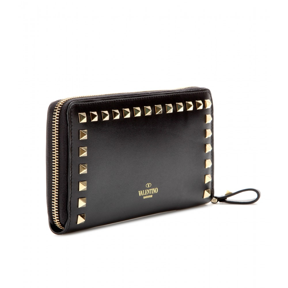 Valentino Rockstud Leather Wallet in Black (nero made in italy) | Lyst