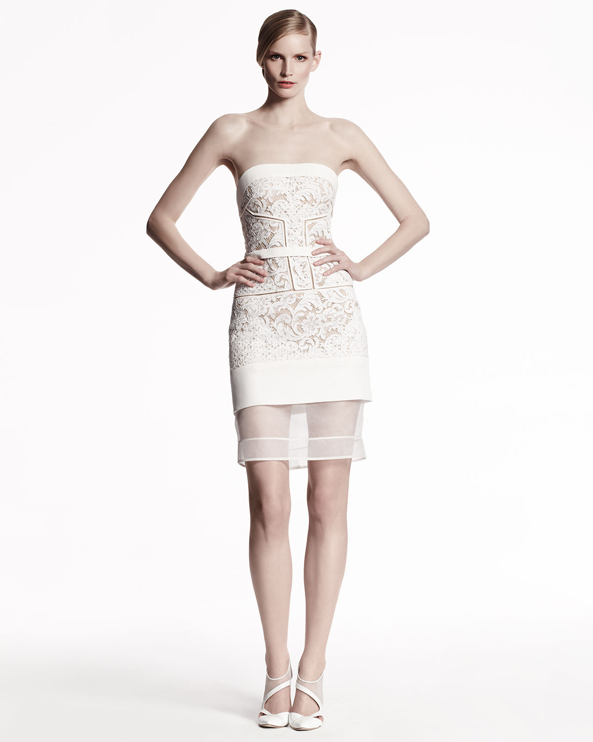Perfect J Mendel Long Sleeve Lace Evening Gown Embellishment - Top ...