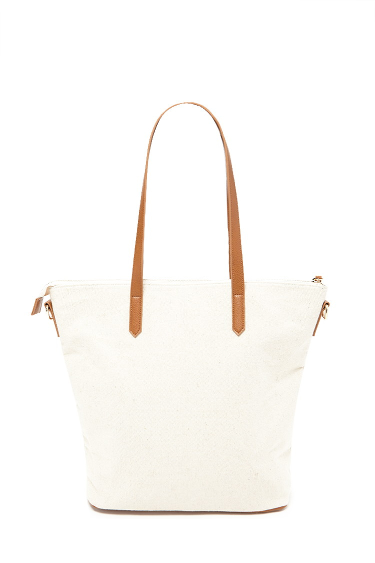 Forever 21 Zip-top Canvas Tote in Natural | Lyst