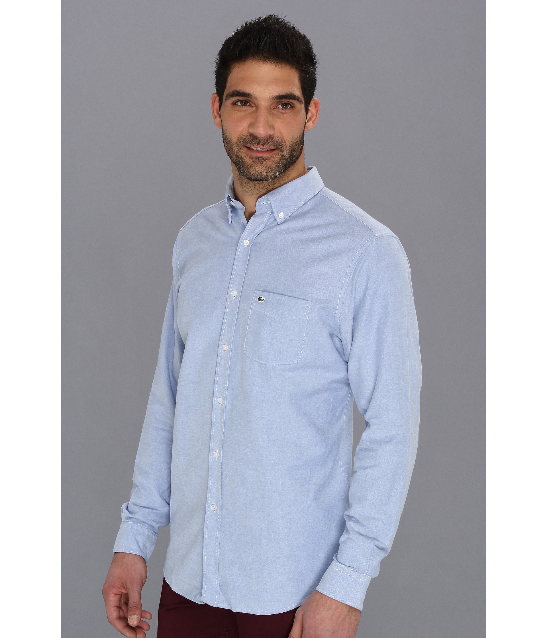 789aa228 Lacoste Blue Long Sleeve Button Down Oxford Woven Shirt for men