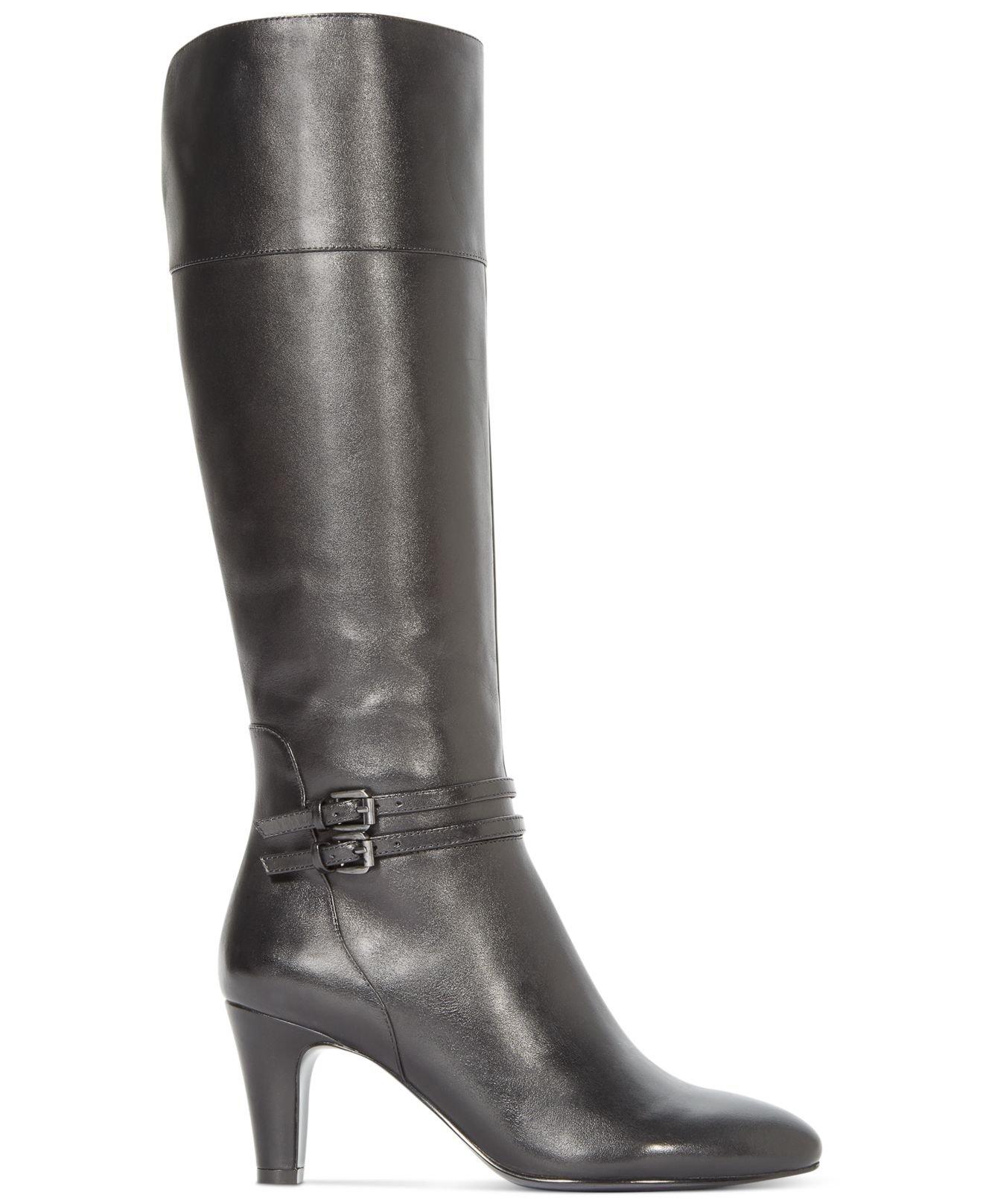 968cc928bc4 Lyst - Bandolino Wiser Wide Calf Buckle Dress Boots in Black