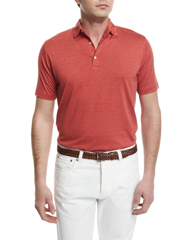 Isaia short sleeve silk blend polo shirt in orange for men for Silk short sleeve shirt