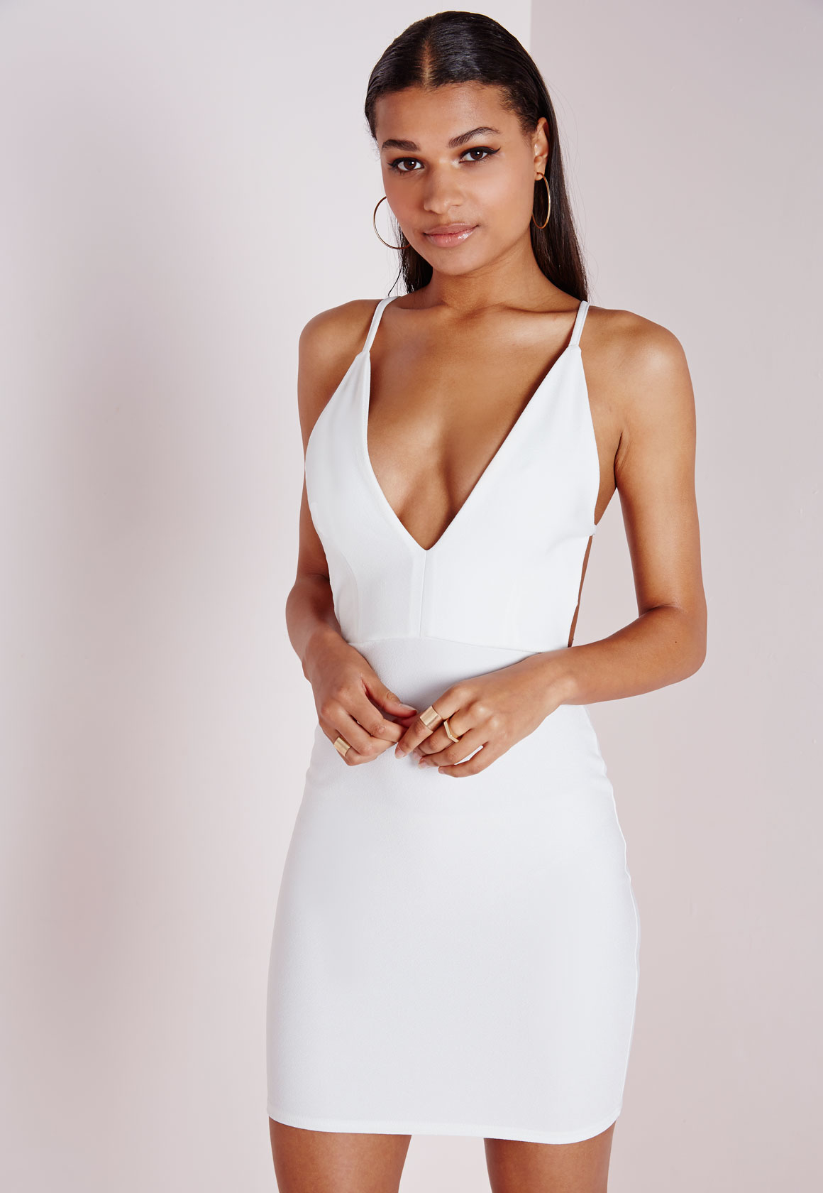 b9388e4750 Lyst - Missguided Crepe Extreme Plunge Strappy Bodycon Dress White ...