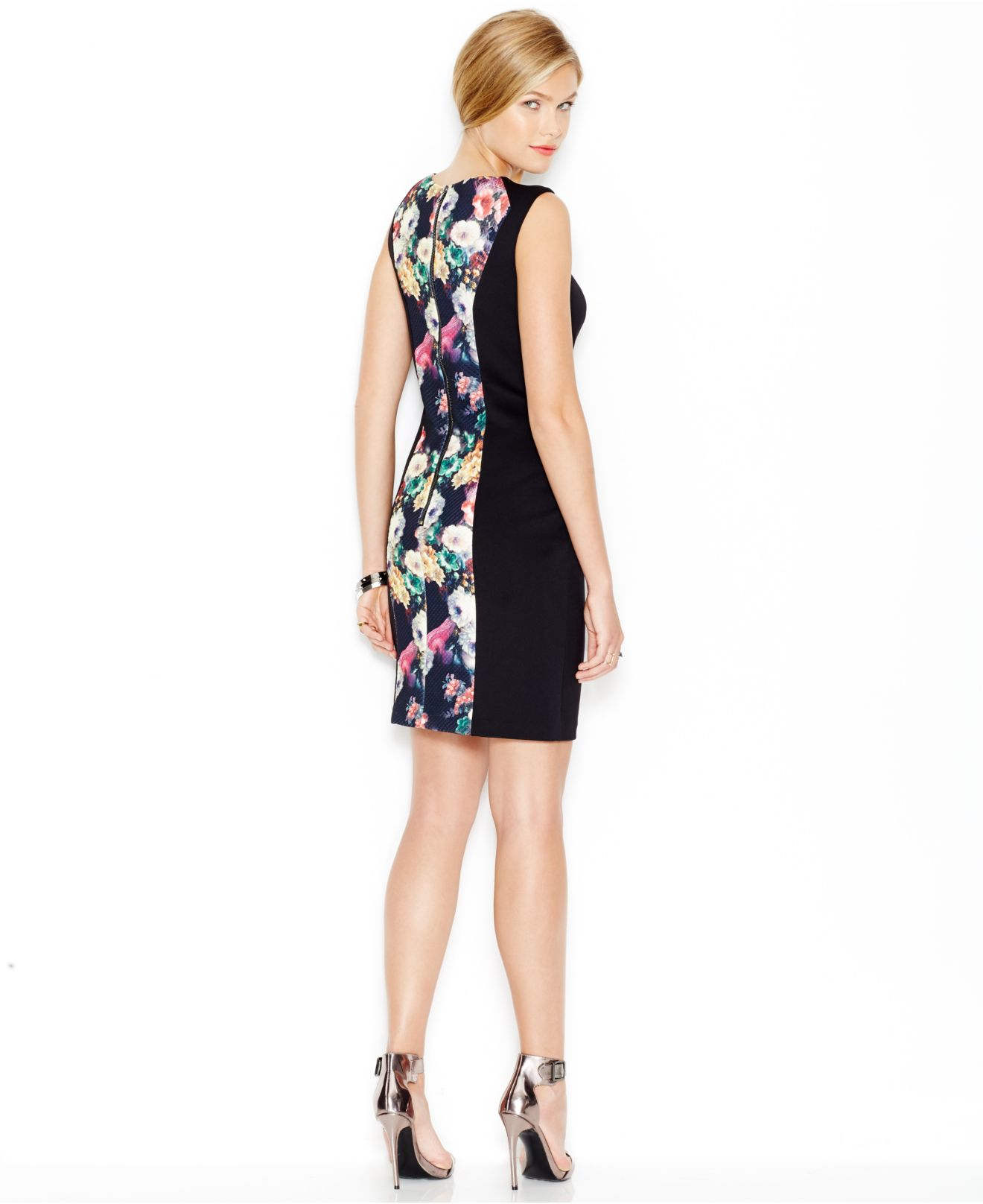 10e8c2db4c2 Lyst - Betsey Johnson Textured Floral-panel Sheath Dress in Black