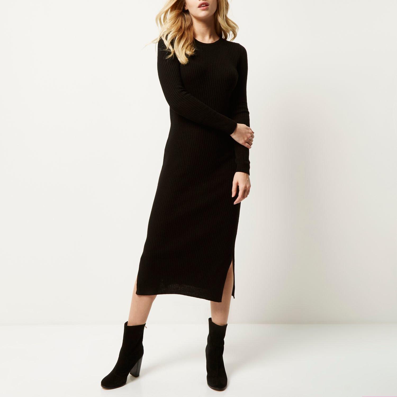 d4708e237dc39c River Island Black Knit Bodycon Midi Dress in Black - Lyst