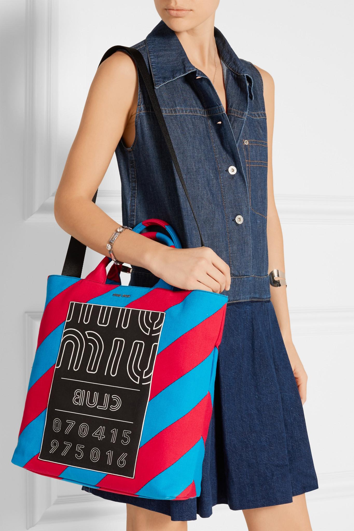 Miu Miu Leather Printed Twill Tote in Blue