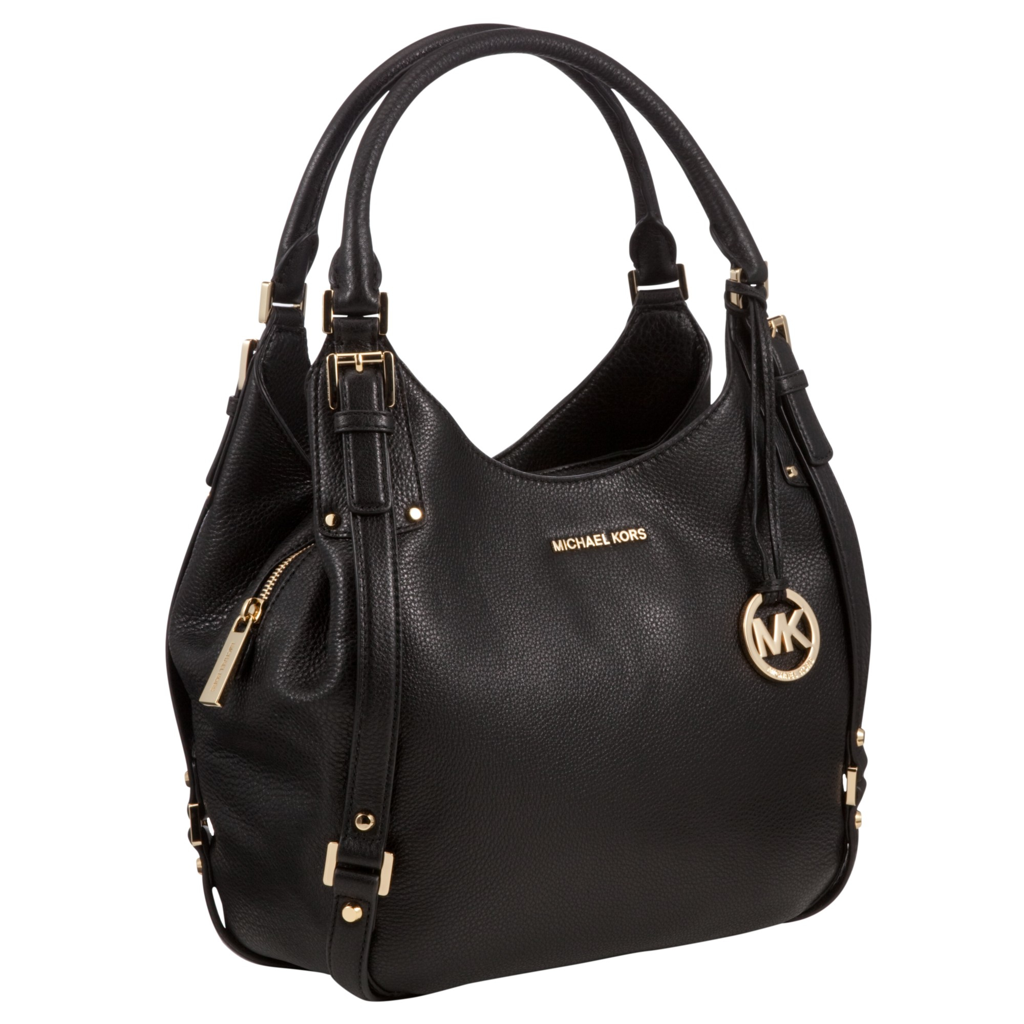michael michael kors bedford large leather tote bag in black lyst rh lyst co uk