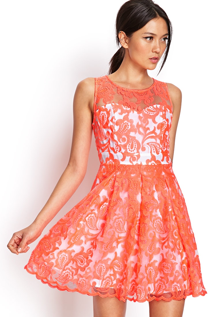 Forever 21 Embroidered Fit Amp Flare Dress In Neon Coral