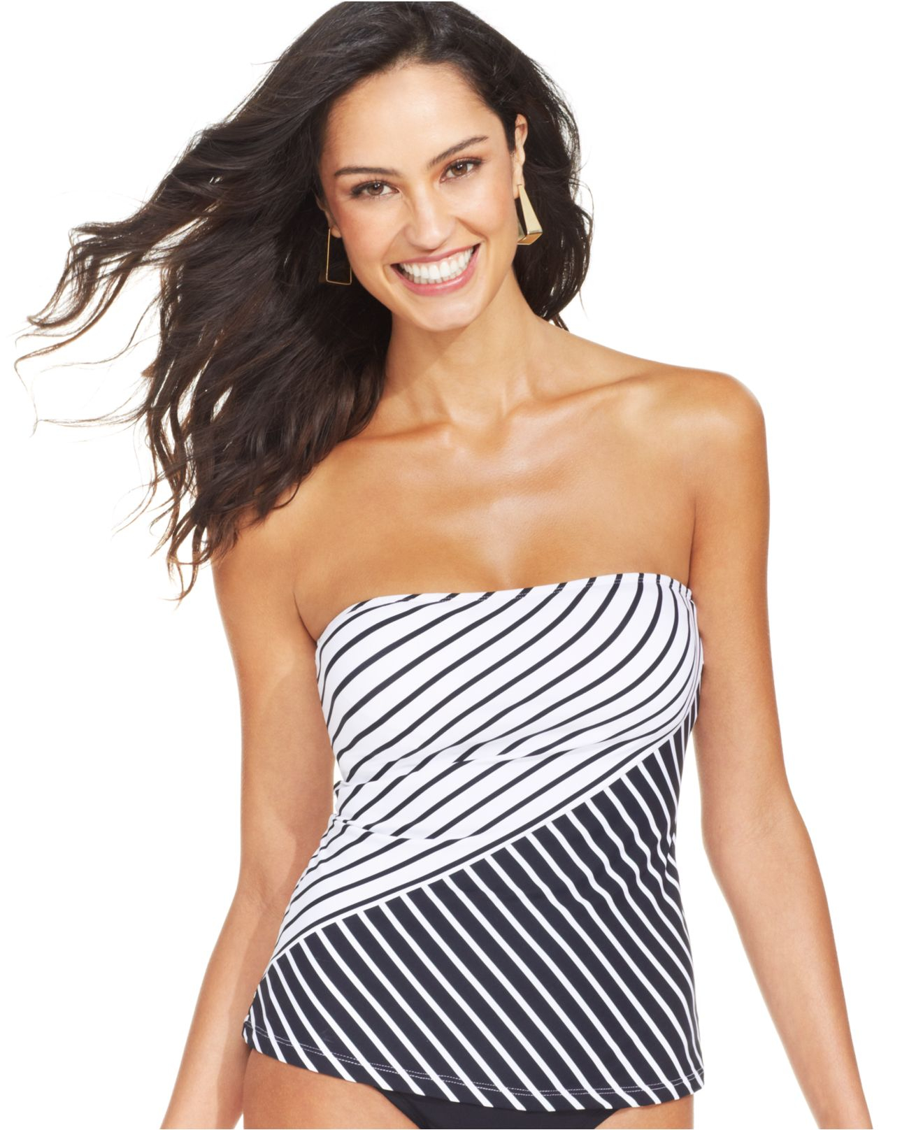 anne cole striped two tone bandeau tankini top in black lyst. Black Bedroom Furniture Sets. Home Design Ideas