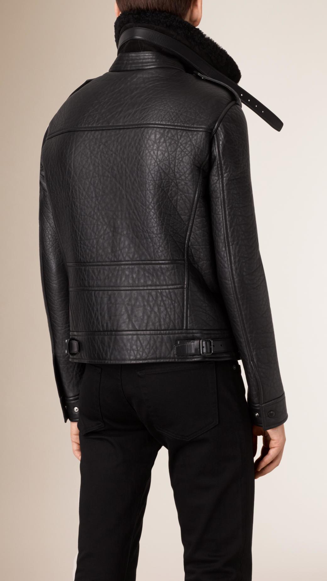 Burberry Leather Shearling Trim Lambskin Aviator Jacket in Black for Men