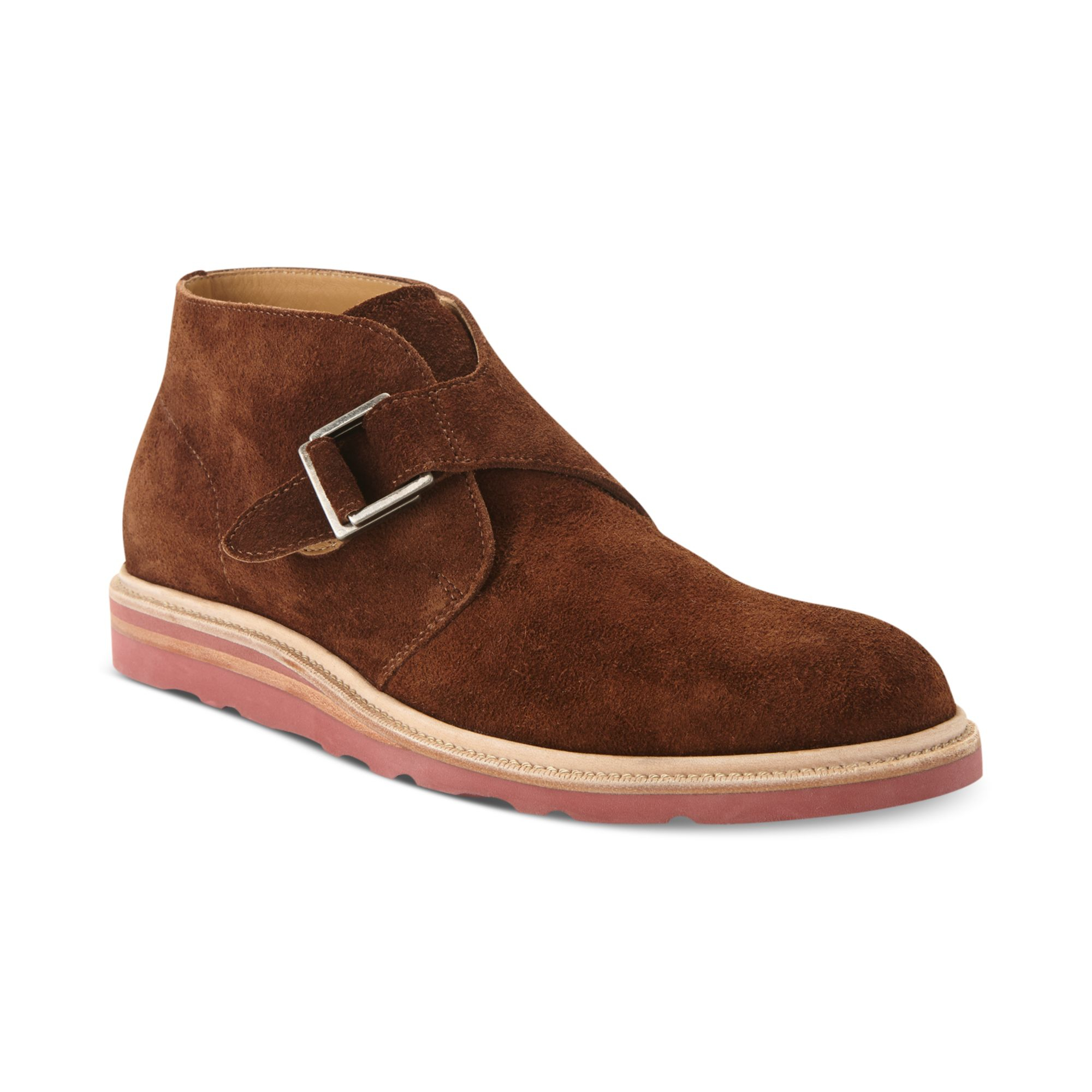 cole haan wedge monk chukka boots in brown for