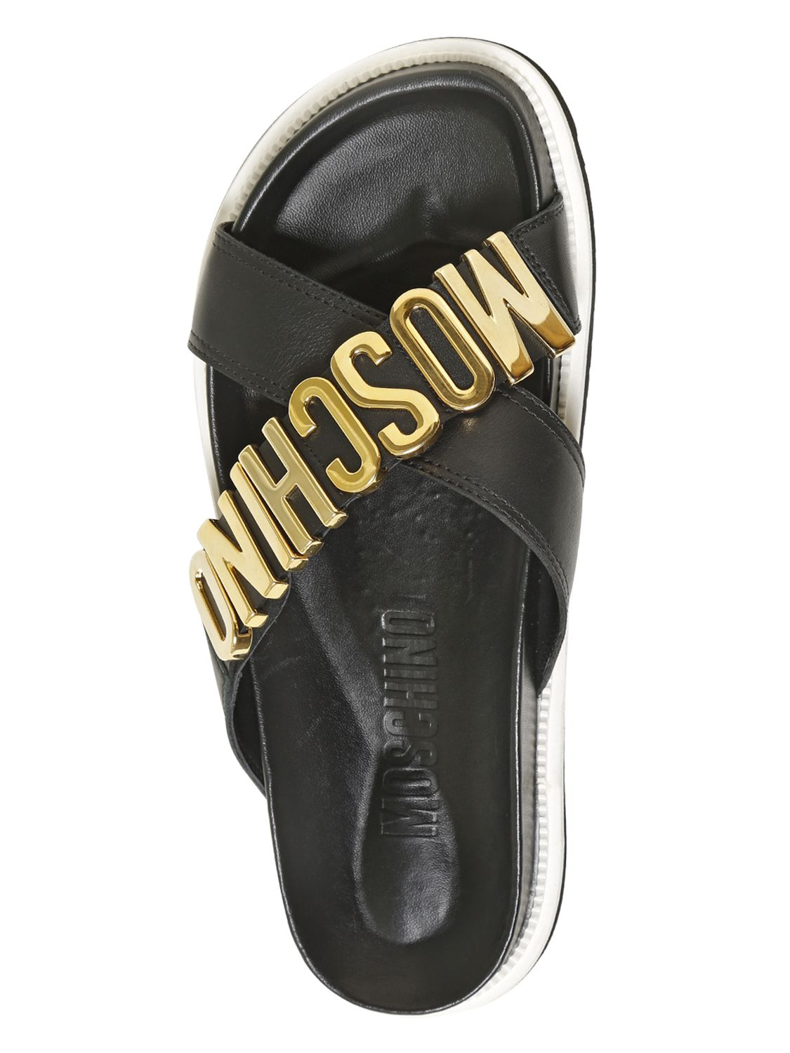 Lyst Moschino Logo Lettering Leather Slide Sandals In Black