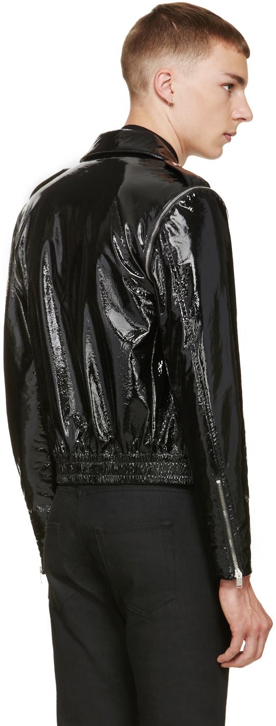 Saint Laurent Black Patent Leather Biker Jacket In Black