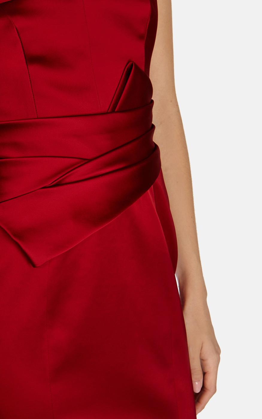 Karen Millen Satin Fitted Maxi Dress In Red Lyst