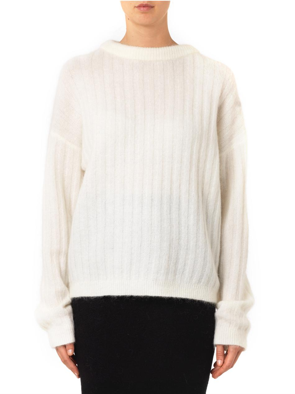 Acne studios Dramatic Ribbed-knit Sweater in White | Lyst