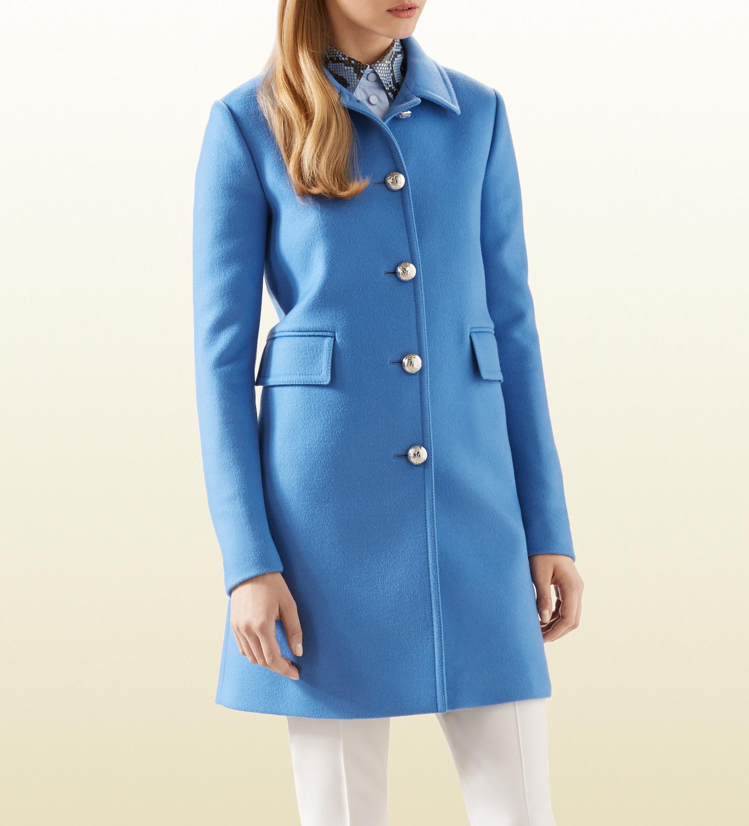 38f88d7ce Gucci Blue Wool Coat in Blue - Lyst