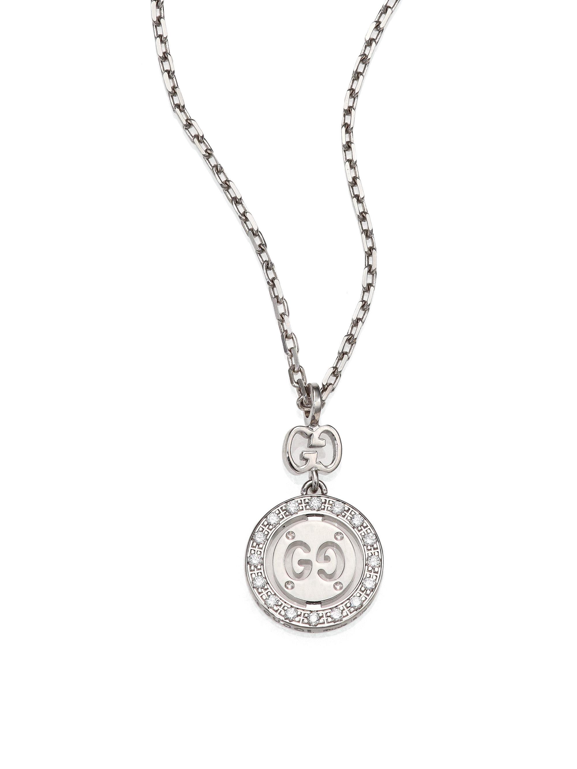 39cd84fcc Gucci Icon Twirl Diamond & 18k White Gold Pendant Necklace in White ...