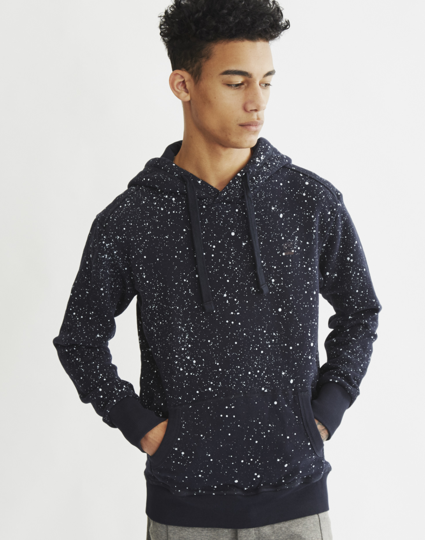 g star raw evin hooded splatter sweatshirt blue in blue. Black Bedroom Furniture Sets. Home Design Ideas