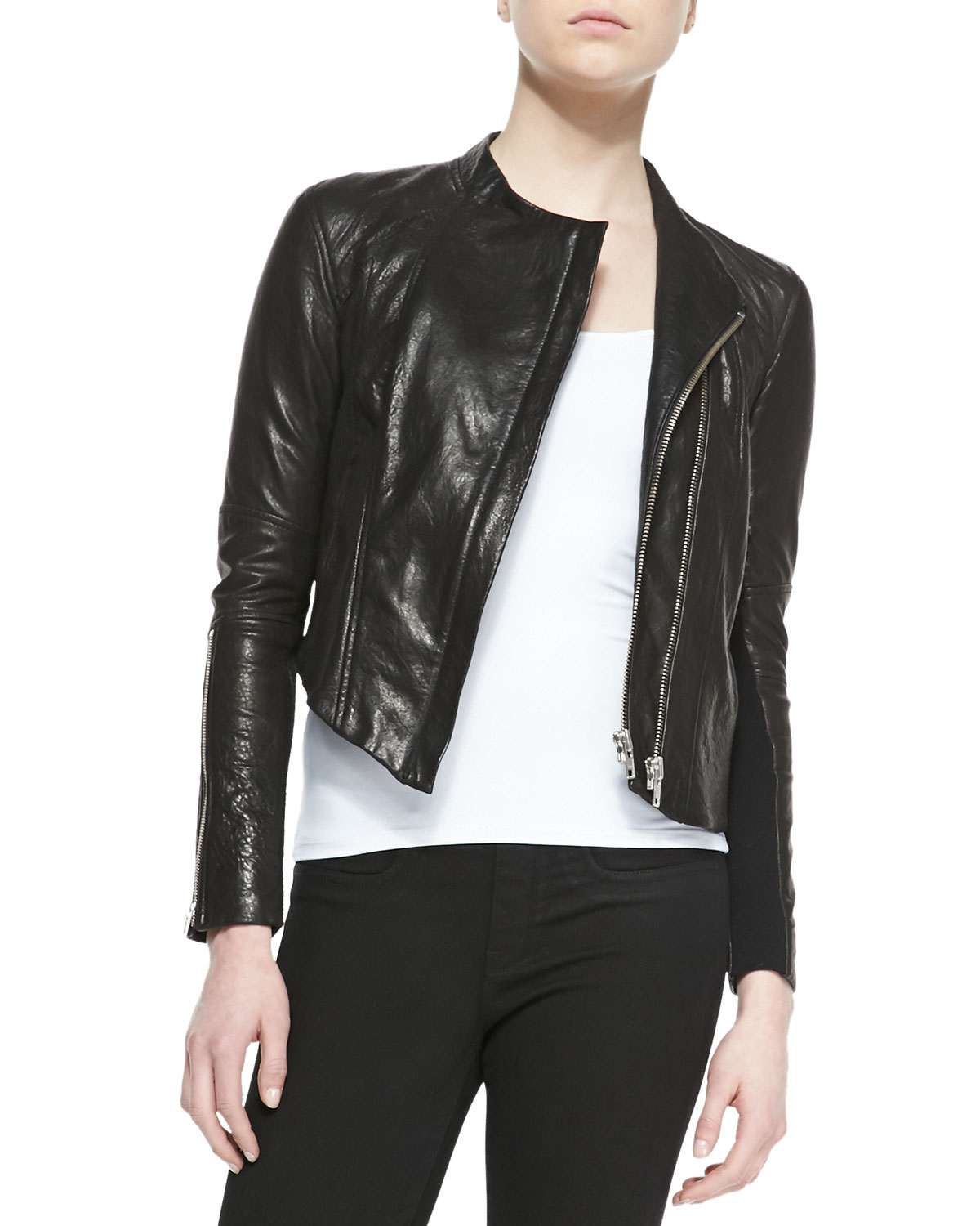 Helmut lang Blistered Cropped Leather Jacket in Black | Lyst