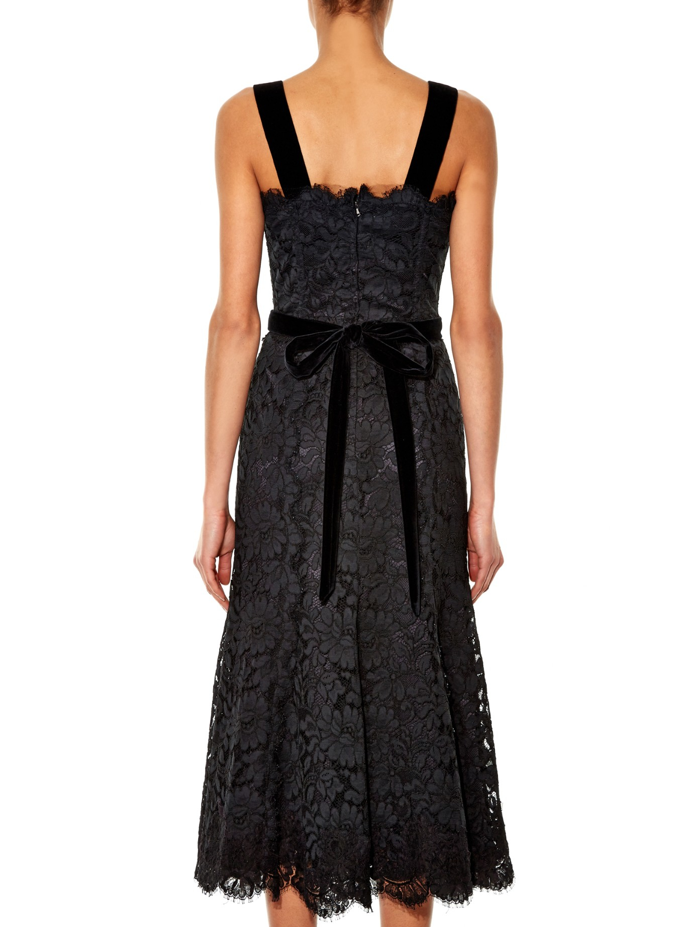 Dolce Amp Gabbana Sleeveless Corded Lace Midi Dress In Black