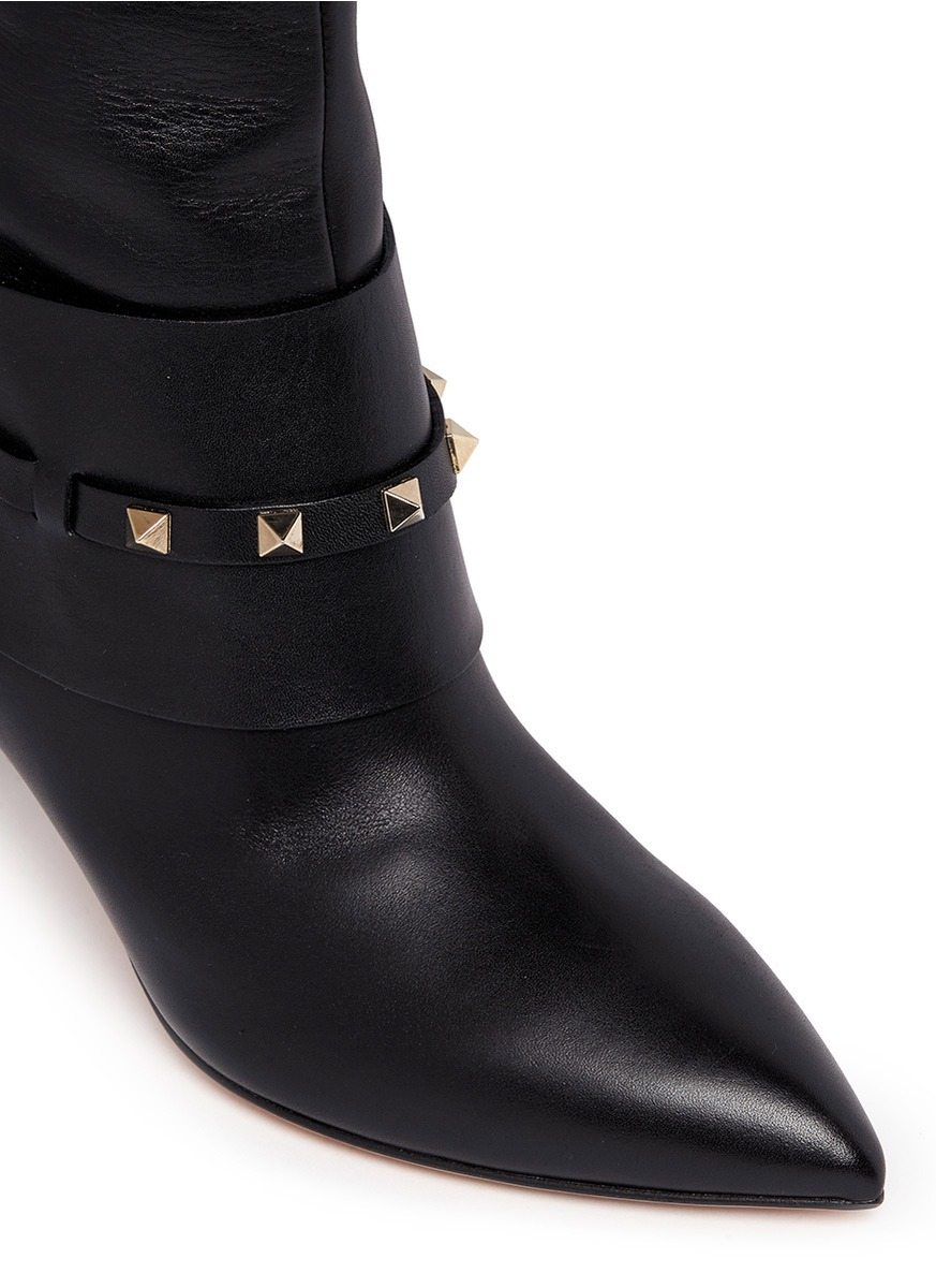 valentino rockstud leather boots in black lyst