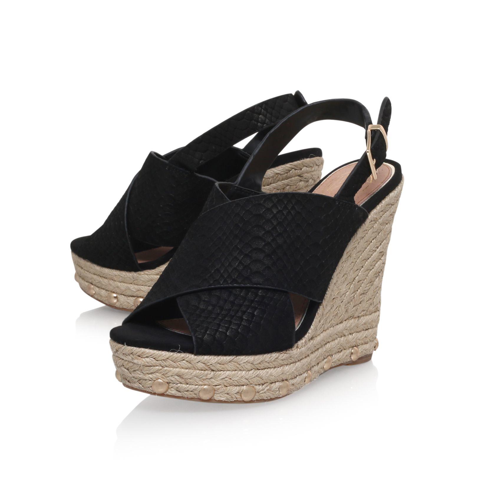 kg by kurt geiger march high wedge heel sandals in black