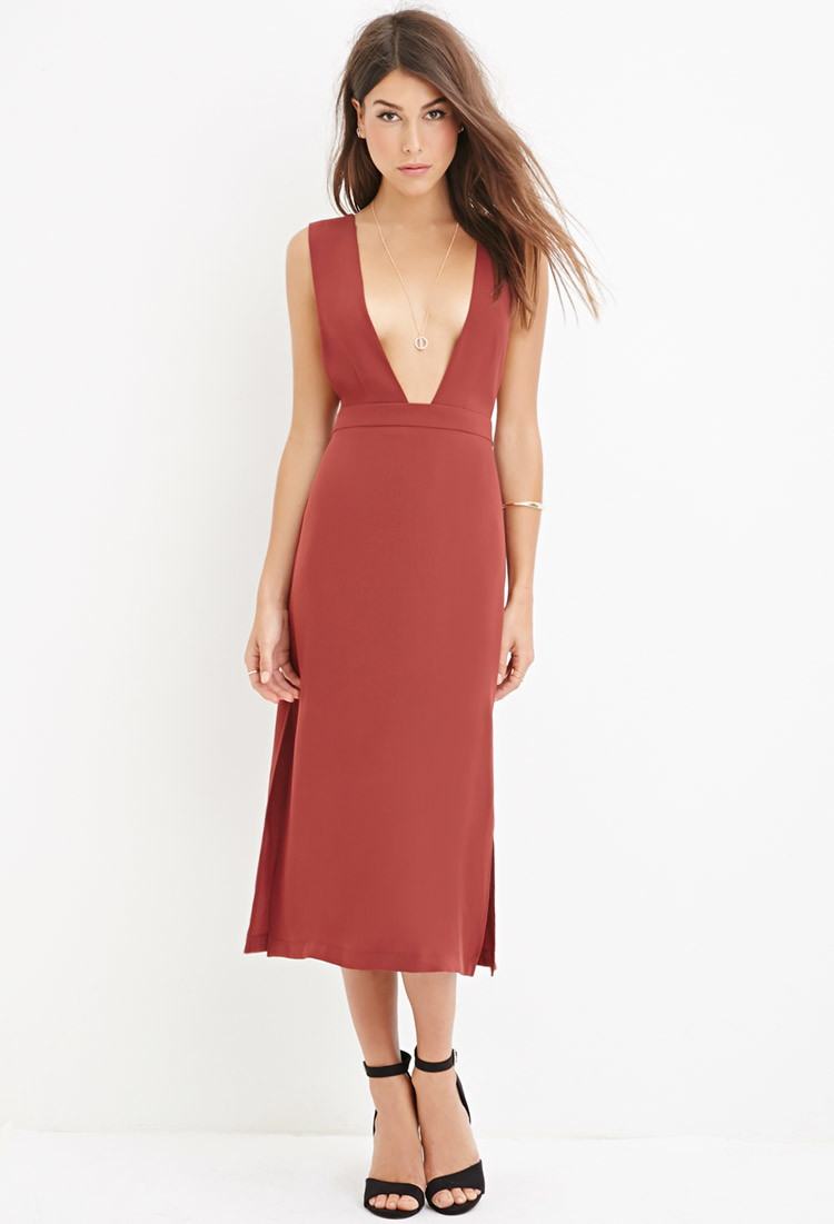 5ae95578bc82 Lyst - Forever 21 Contemporary Deep V-cut Dress in Red