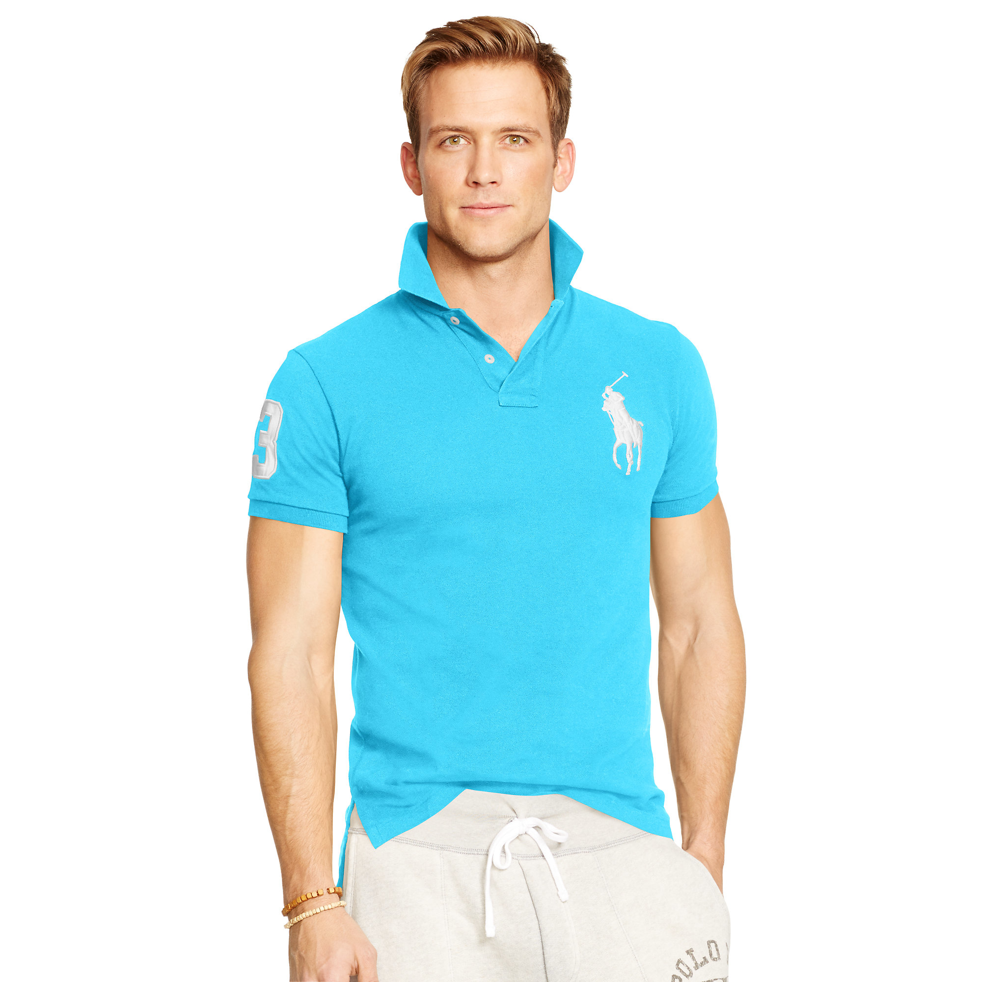 lyst polo ralph lauren custom fit big pony polo in blue for men. Black Bedroom Furniture Sets. Home Design Ideas