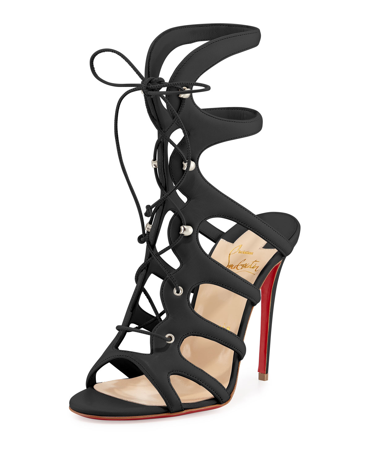 Christian Louboutin Black Amazoulo Lace Up Red Sole Sandal