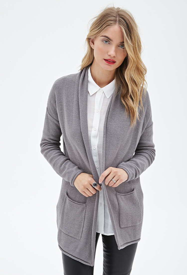 Forever 21 Contemporary Longline Shawl Collar Cardigan in Gray | Lyst