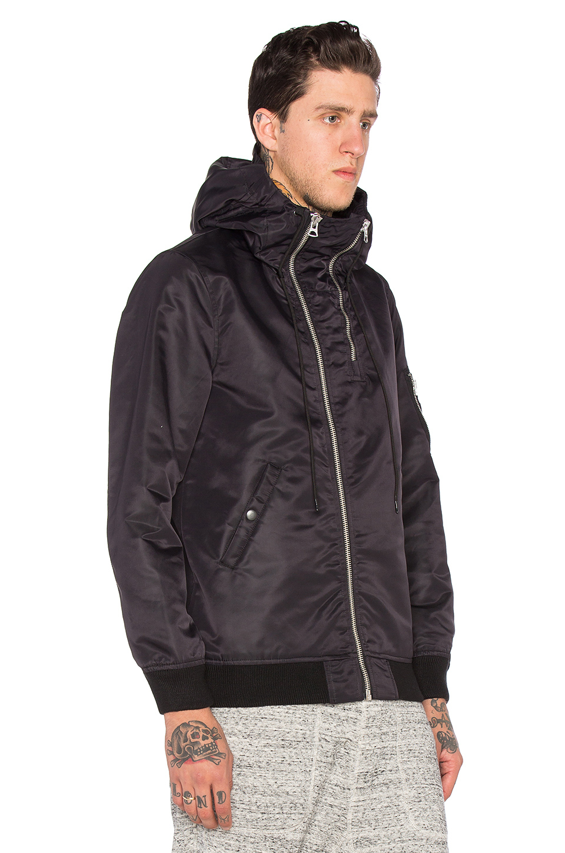 627995ce9ac Lyst - NLST Double Zip Hooded Flight Jacket in Black for Men