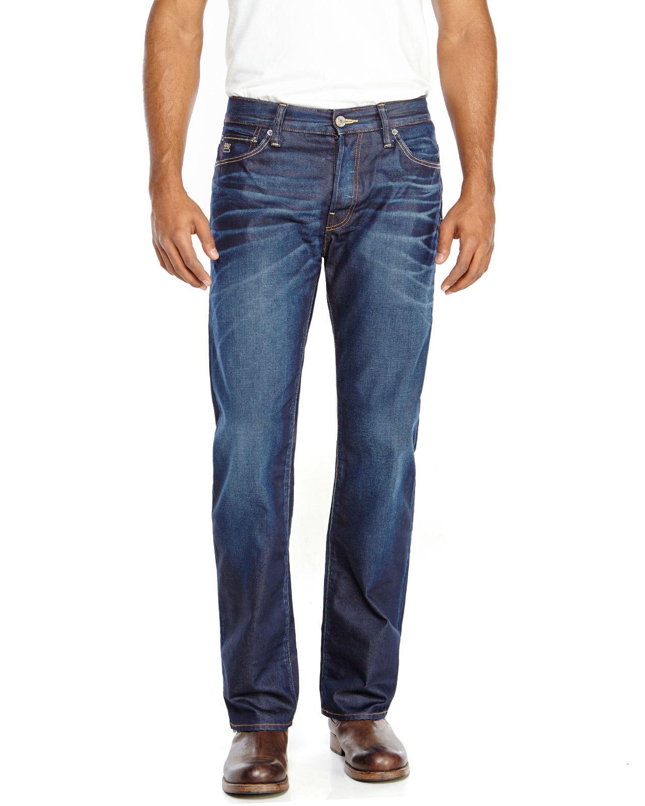 g star raw 3301 loose fit dark wash jeans in blue for men. Black Bedroom Furniture Sets. Home Design Ideas