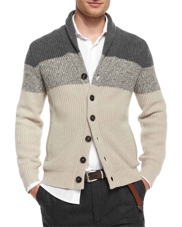 61753ae5e0 Brunello Cucinelli Brown Shawl-collar Colorblock Cashmere Cardigan for men