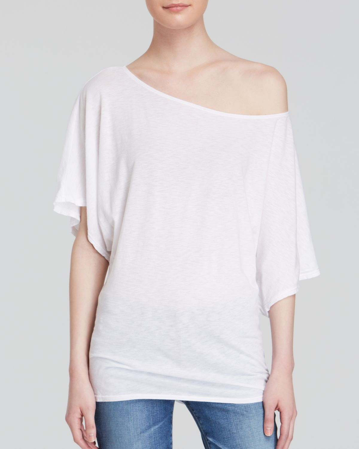 Michael stars dolman tee in white lyst for Michael stars tee shirts