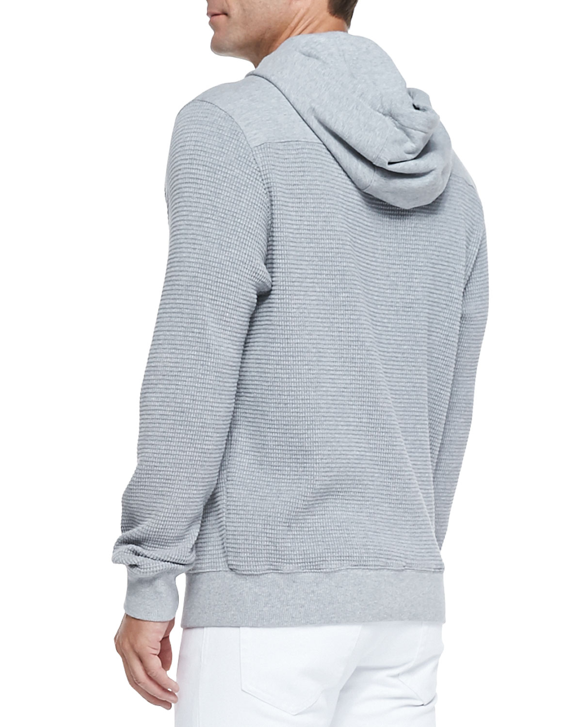 Michael kors Waffle-knit Pullover Hoodie in Gray for Men | Lyst