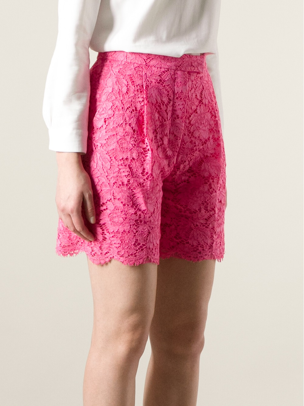 Valentino Lace Shorts in Pink | Lyst
