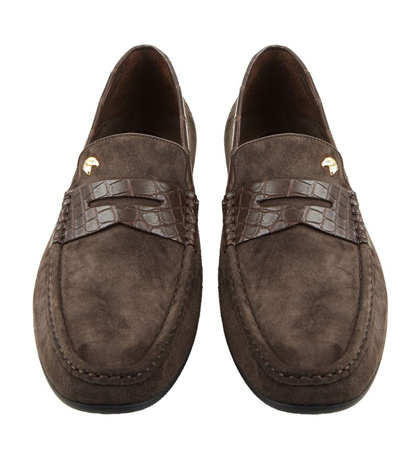 Stefano Ricci Suede And Croc Penny Loafer in Grey for Men