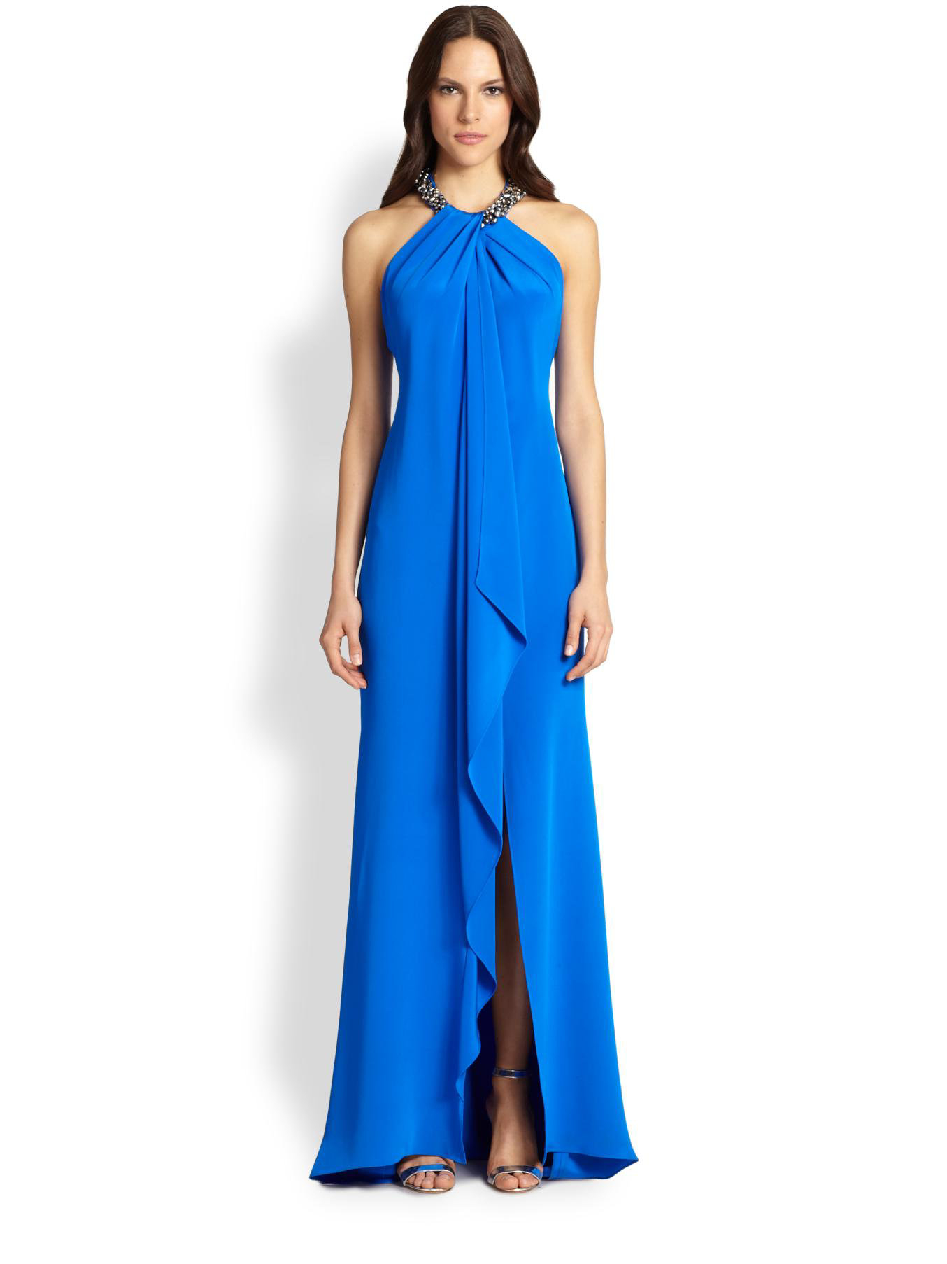 5a4ff4033d Carmen Marc Valvo Toga Necklace Gown in Blue - Lyst