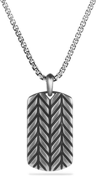 David Yurman Modern Chevron Tag Necklace In Silver For Men