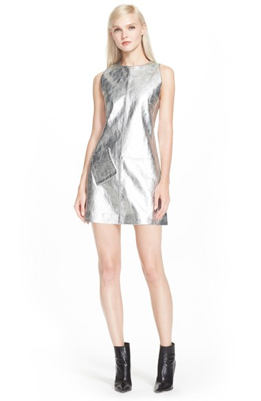 Rachel Zoe Needham Leather Shift Dress In Silver