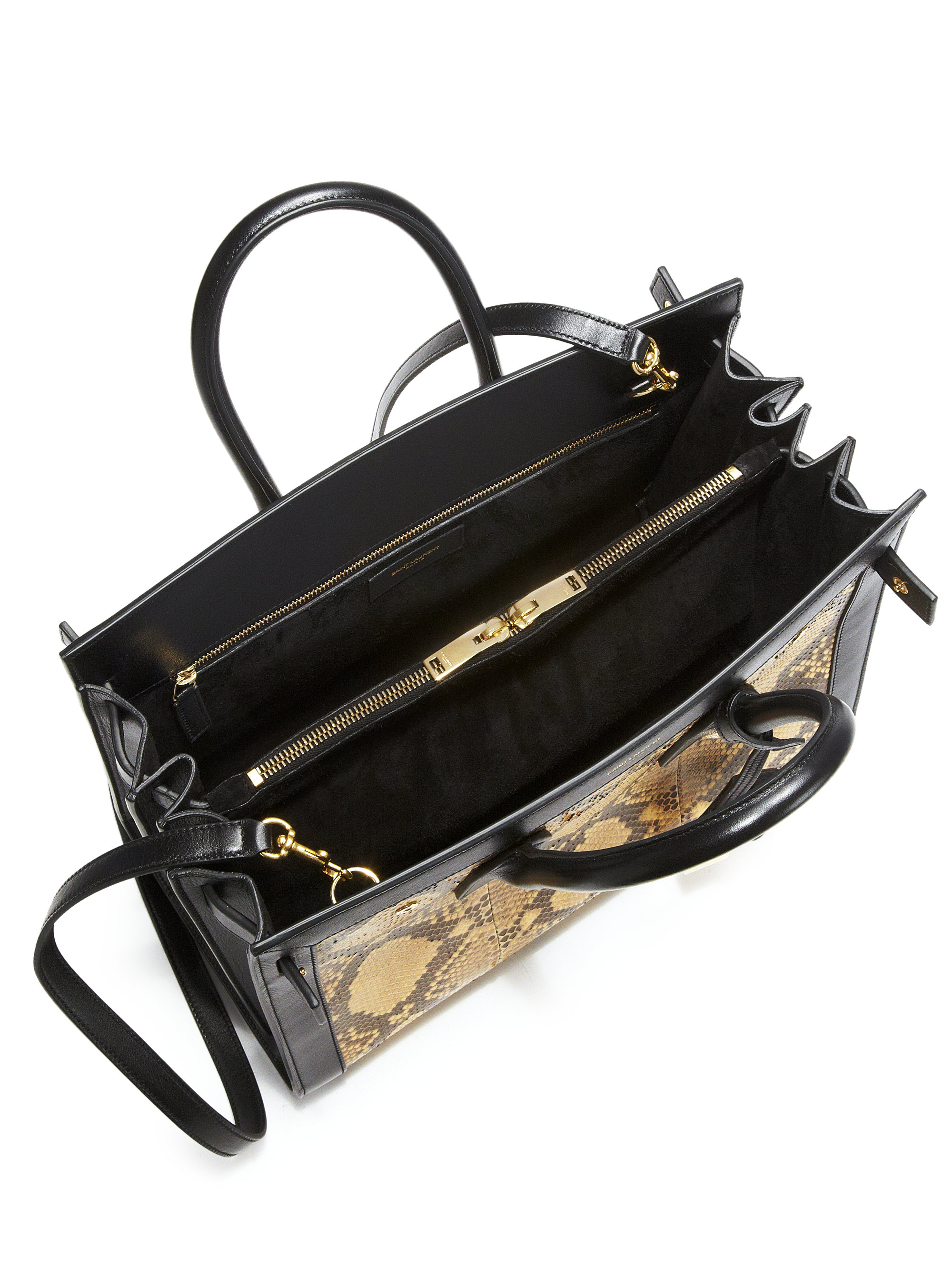 replica clutches - Saint laurent Sac De Jour Small Python Tote in Animal (TAN-BLACK ...