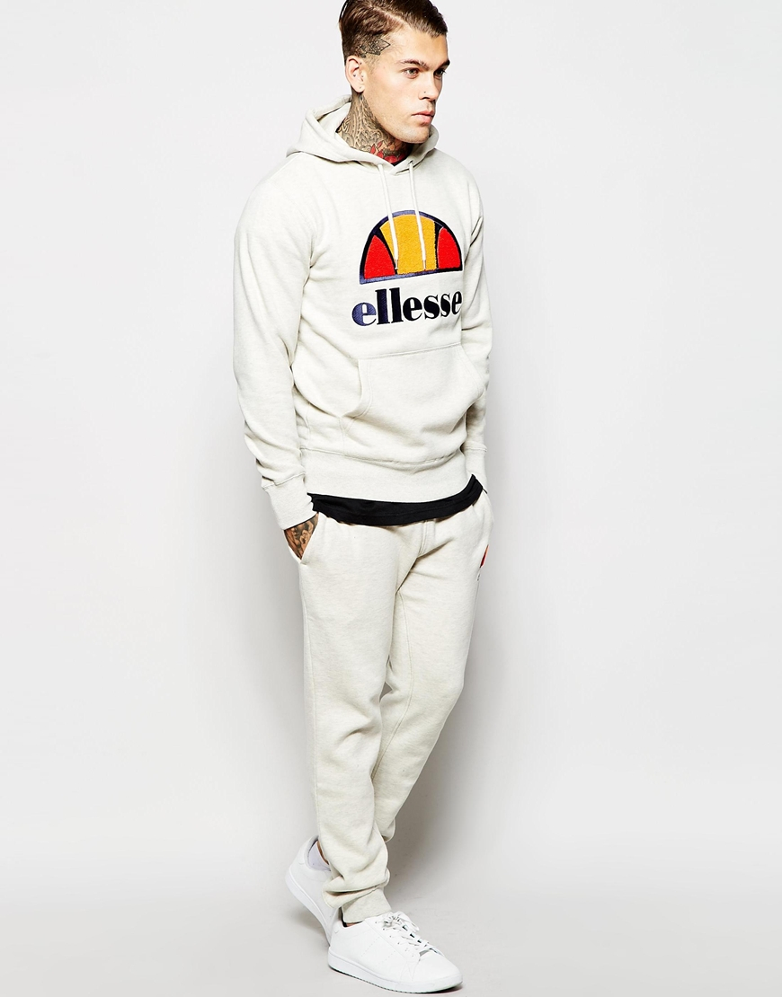 28df05c1f7 Ellesse White Hoodie With Chenille Logo for men