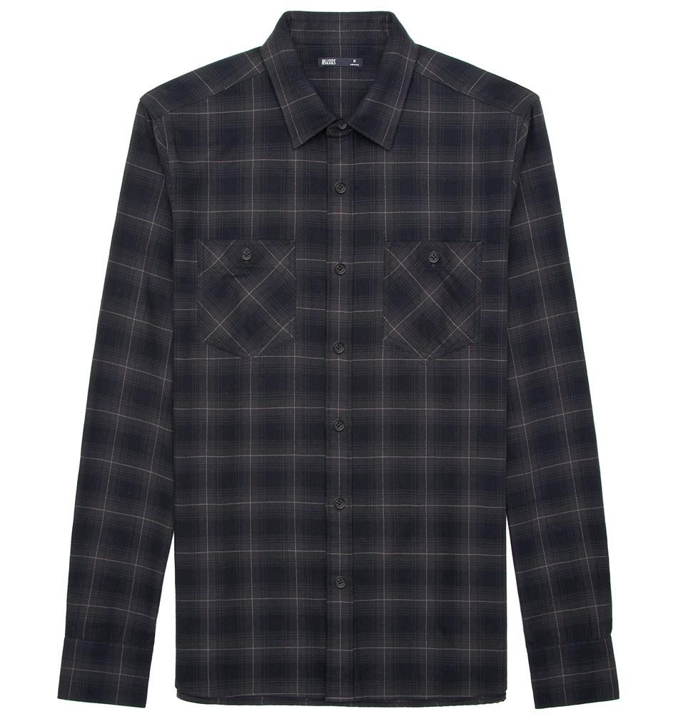 Onassis clothing plaid flannel shirt in black for men for Mens black plaid dress shirt