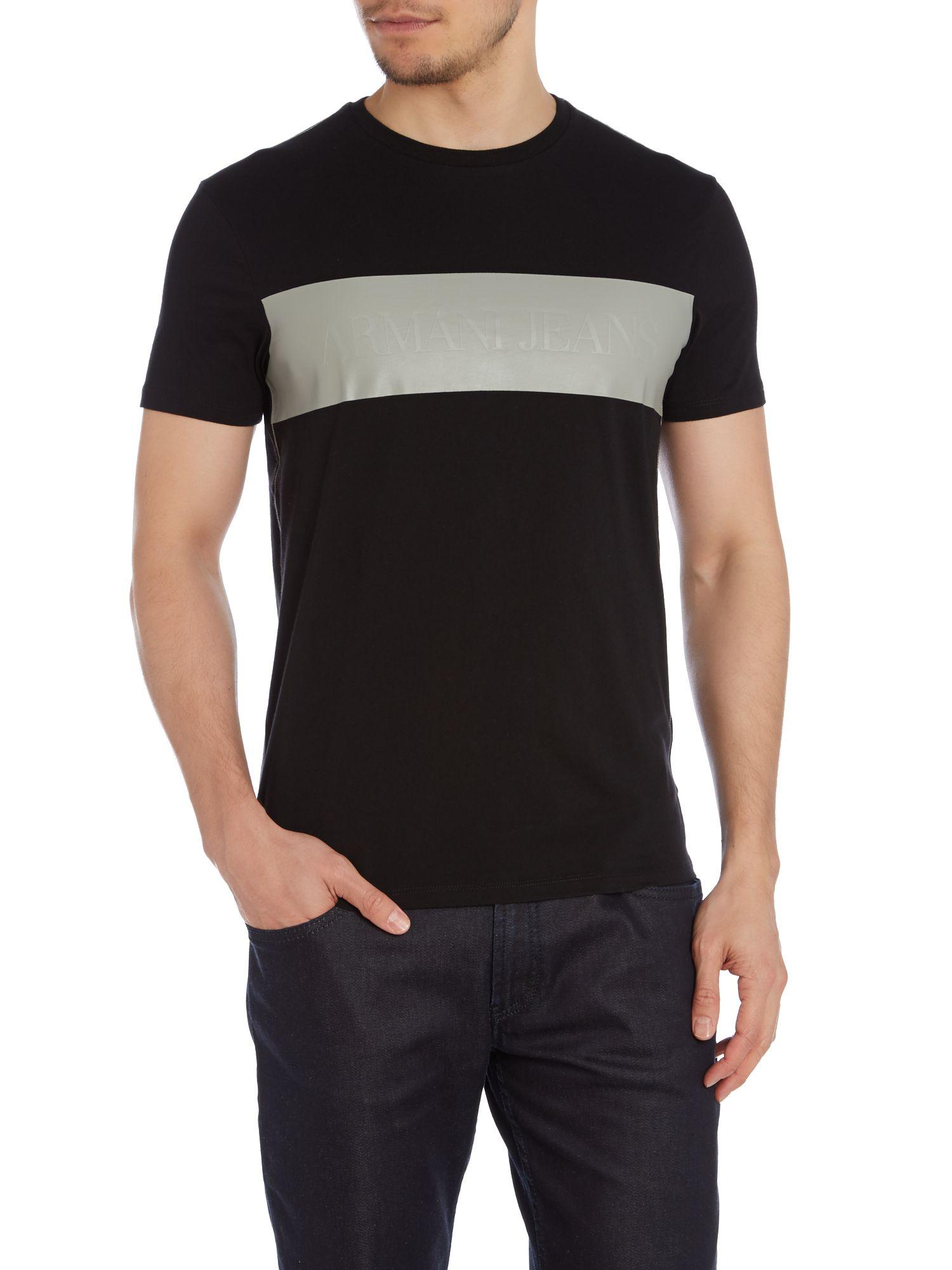 armani jeans strip logo t shirt in black for men lyst. Black Bedroom Furniture Sets. Home Design Ideas
