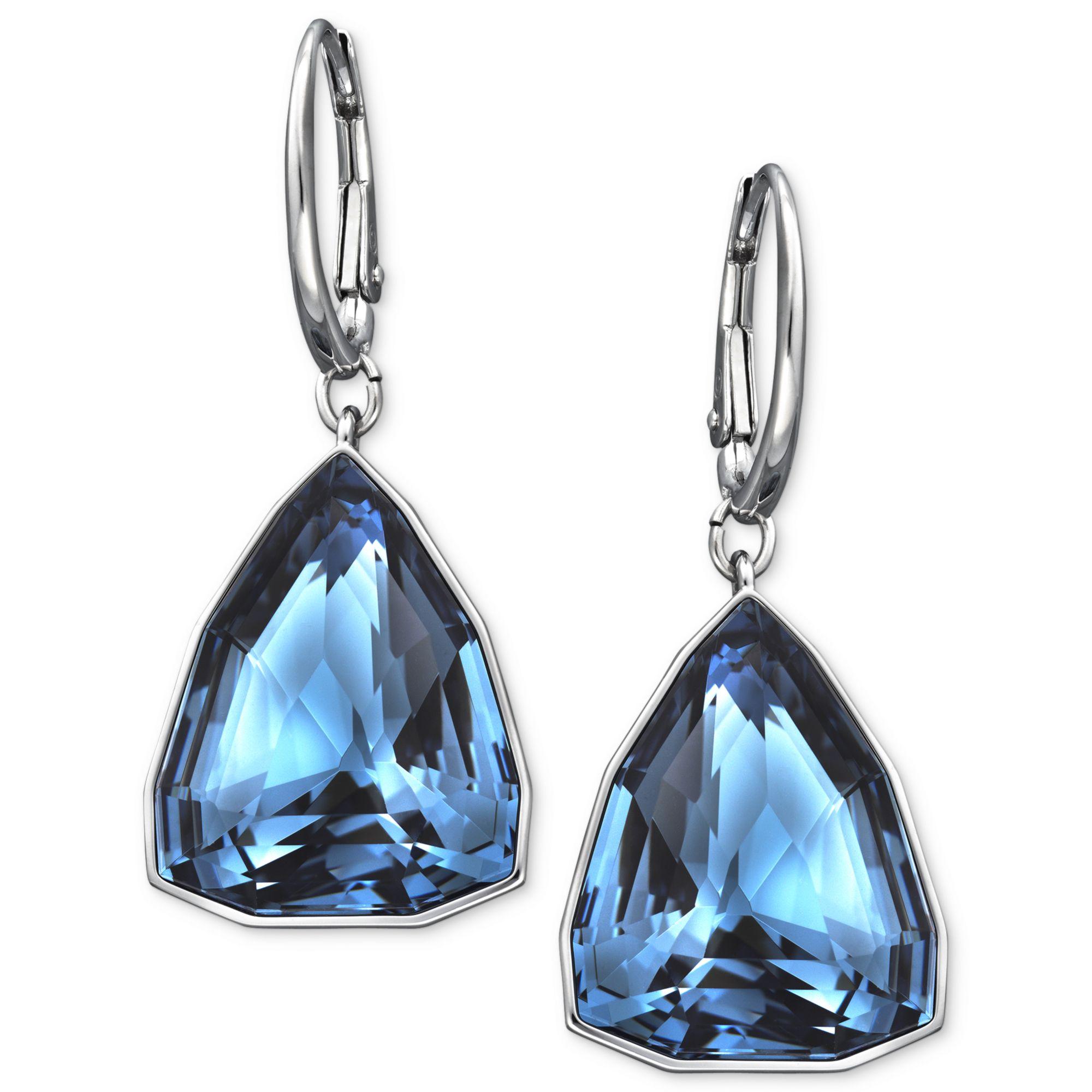 Rhodiumplated Triangular Denim Blue Crystal Drop Earrings